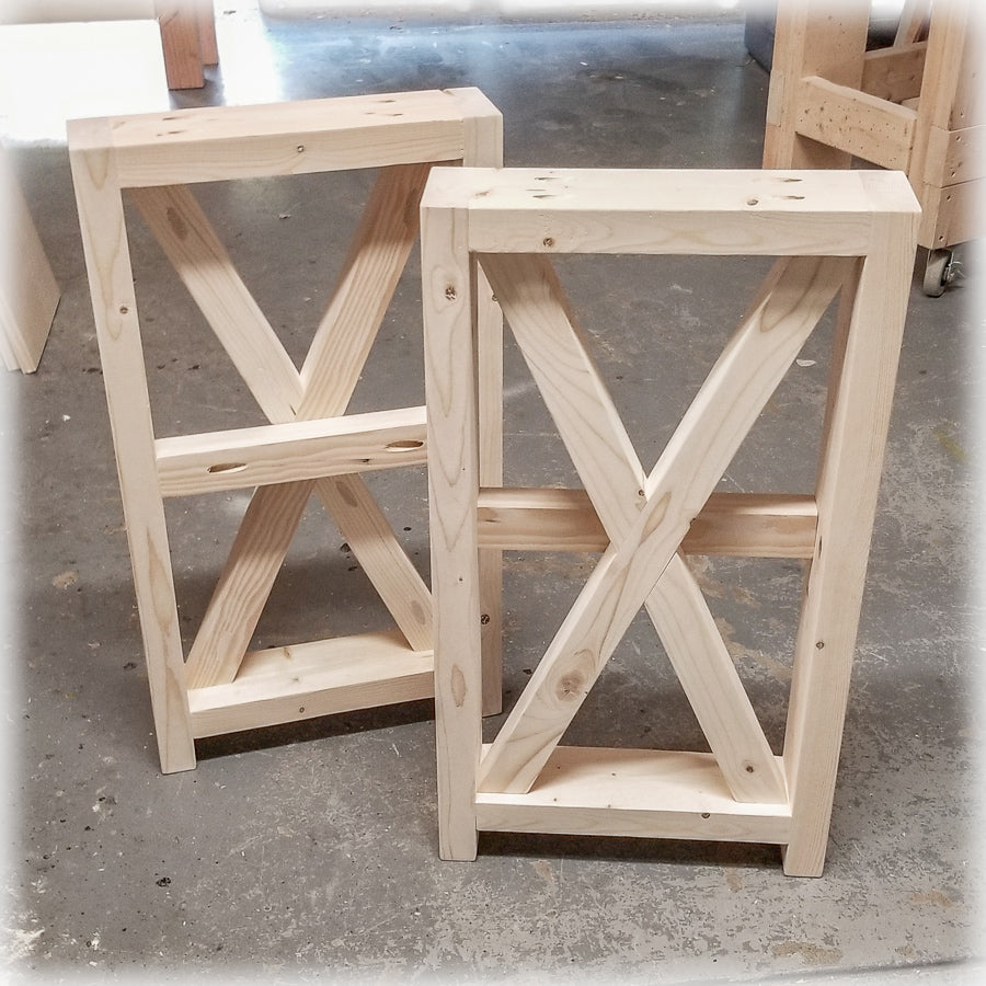 Unfinished DIY Farmhouse X Style Table Legs | Build Your Own Console Tables  ...