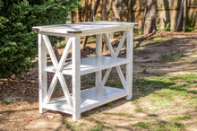 BUILD-YOUR-OWN DIY FARMHOUSE X-STYLE CONSOLE TABLE |  WHITE-DISTRESSED | HANDMADE BY OVERLIN DESIGNS | CHARLOTTE, NC
