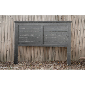 Black-Distressed King SIze Farmhouse Headboard | Made by Overlin Designs