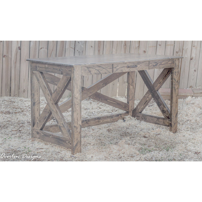 HANDCRAFTED ESPRESSO FARMHOUSE-STYLE DESK DISTRESSED WITH SINGLE DRAWER