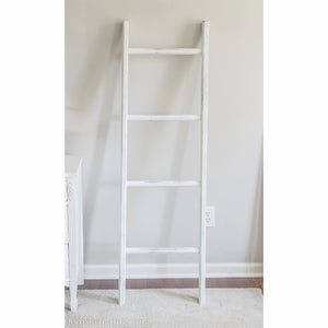Farmhouse Blanket Ladder - White-Distressed