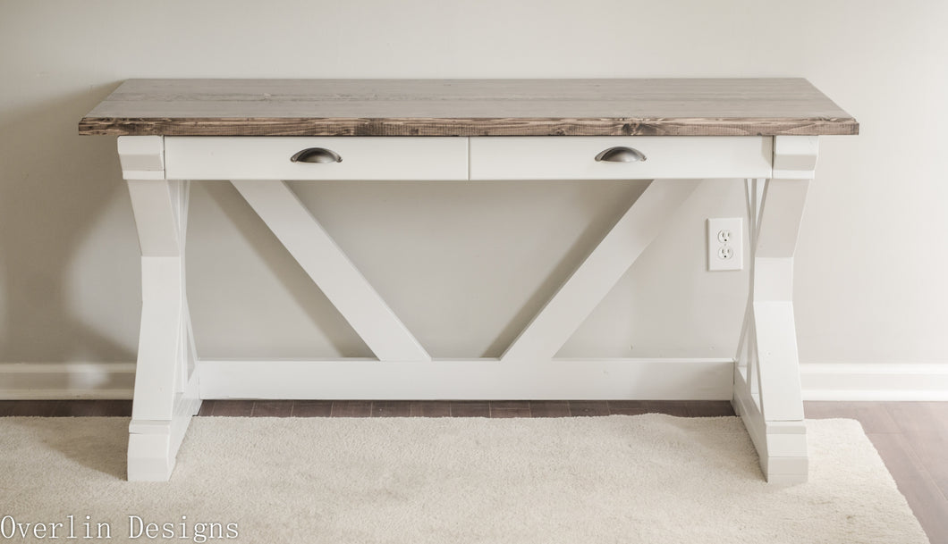 farmhouse trestle style desk with two pull-out drawer for storage - handmade, handcrafted, overlin designs