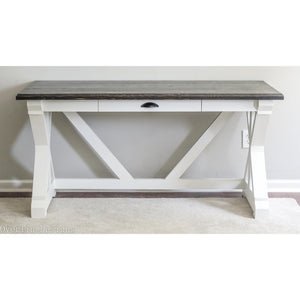 trestle style farmhouse desk with ebony black top and alabaster white bottom - functional drawer for storage - handcrafted, handmade by overlin designs