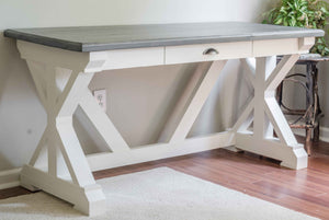 HANDCRAFTED CARBON GRAY AND ALABASTER FARMHOUSE TRESTLE DESK WITH SINGLE DRAWER