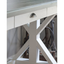 trestle style farmhouse desk with carbon gray top and alabaster white bottom - functional drawer for storage - handcrafted, handmade by overlin designs