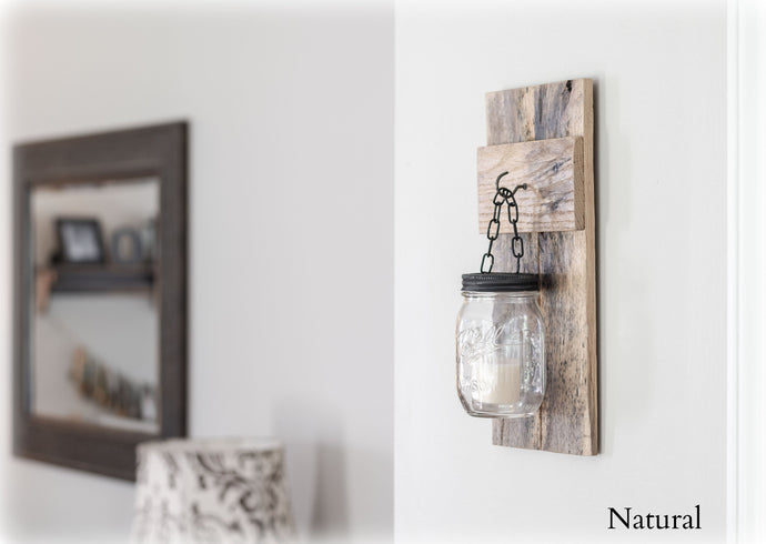 Rustic Wall Mounted Candle Holder - Reclaimed Pallet Wood - Overlin Designs