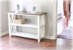Red Oak console table - espresso/white - brown/white