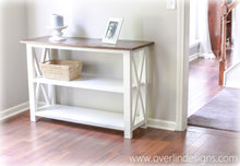 brown and white console table