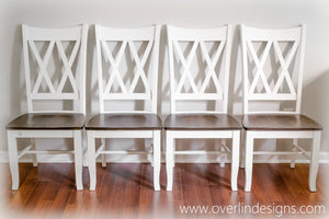 Set of 4 Double X Back Farmhouse Dining Chairs