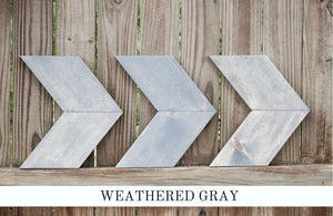 weathered gray farmhouse chevron arrows - handcrafted wall decor - handmade by overlin designs