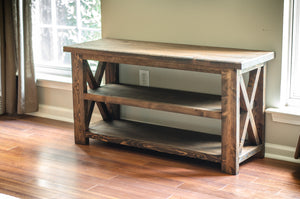 BUILD-YOUR-OWN DIY FARMHOUSE X-STYLE CONSOLE TABLE | ESPRESSO | HANDMADE BY OVERLIN DESIGNS | CHARLOTTE, NC