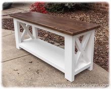 Handcrafted Modern Farmhouse Bench in White and Espresso finish