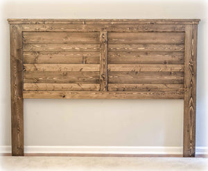 Farmhouse Headboard | King Size | Jacobean Stain Color | Handmade by Overlin Designs in Charlotte, NC