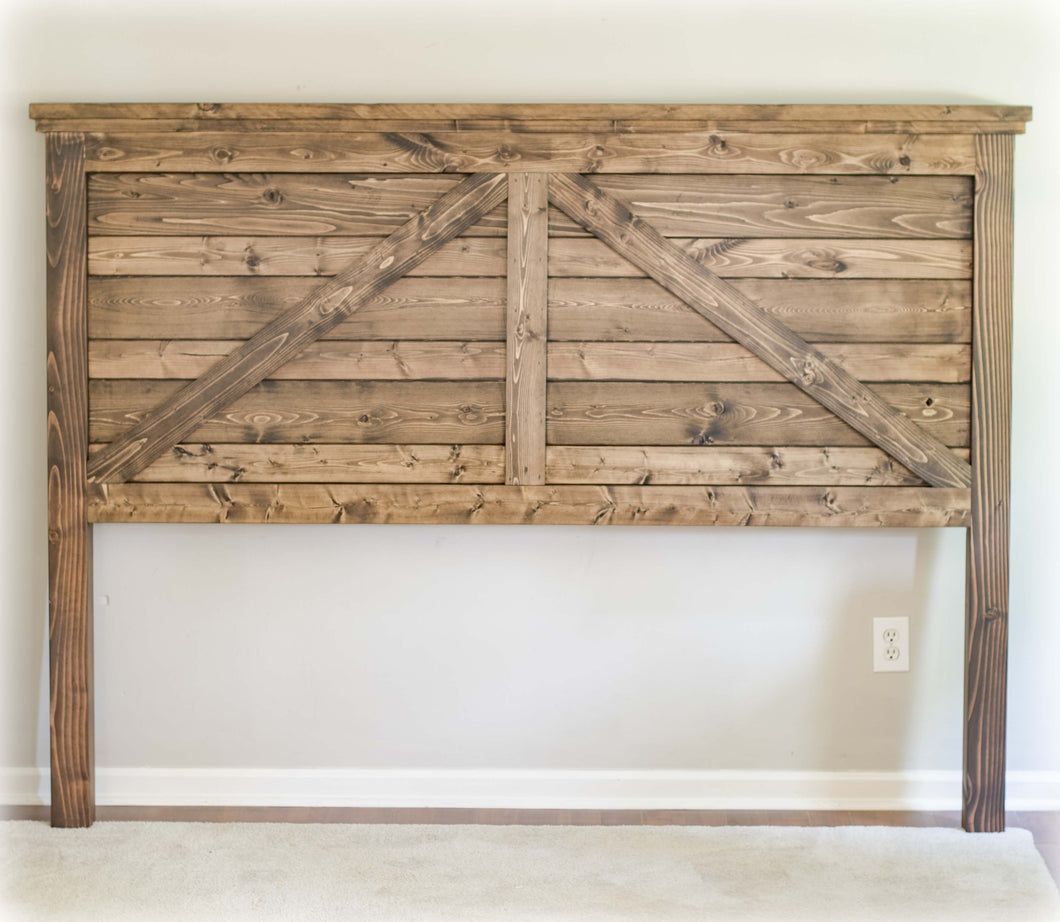 Rustic Farmhouse Barn-Style King Headboard | Jacobean | Handmade by Overlin Designs | Solid-Wood | Charlotte, NC