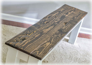 Cool Farm Table Bench - Live-Edge Top - Solid Reclaimed Wood - Handmade by Overlin Designs
