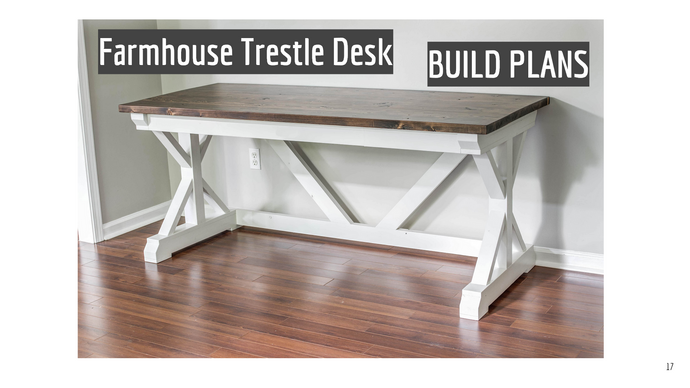 DIY Farmhouse Trestle Desk Build Plans - Instant PDF Download