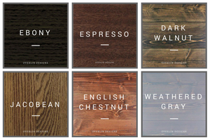 Stain Color Chart - Jacobean - Ebony - Dark Walnut - Weathered Gray - English Chestnut - Espresso | Overlin Designs | Charlotte, NC