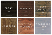 Stain color sample chart - Espresso, ebony, english chestnut, jacobean, weathered gray, dark walnut