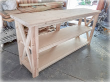 Unfinished DIY Farmhouse X-Style Table Legs | Build-your-own console tables, sofa tables, entryway tables, kitchen islands, T.V. Stands, entertainment centers, buffett tables, coffee tables, etc. | Handmade by Overlin Designs | Charlotte, NC