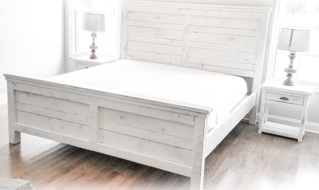 King Farmhouse Bedroom Suite | White-Distressed | King Farmhouse Bed and Nightstands | Handmade by Overlin Designs in Charlotte NC
