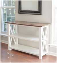 white and brown x style console table