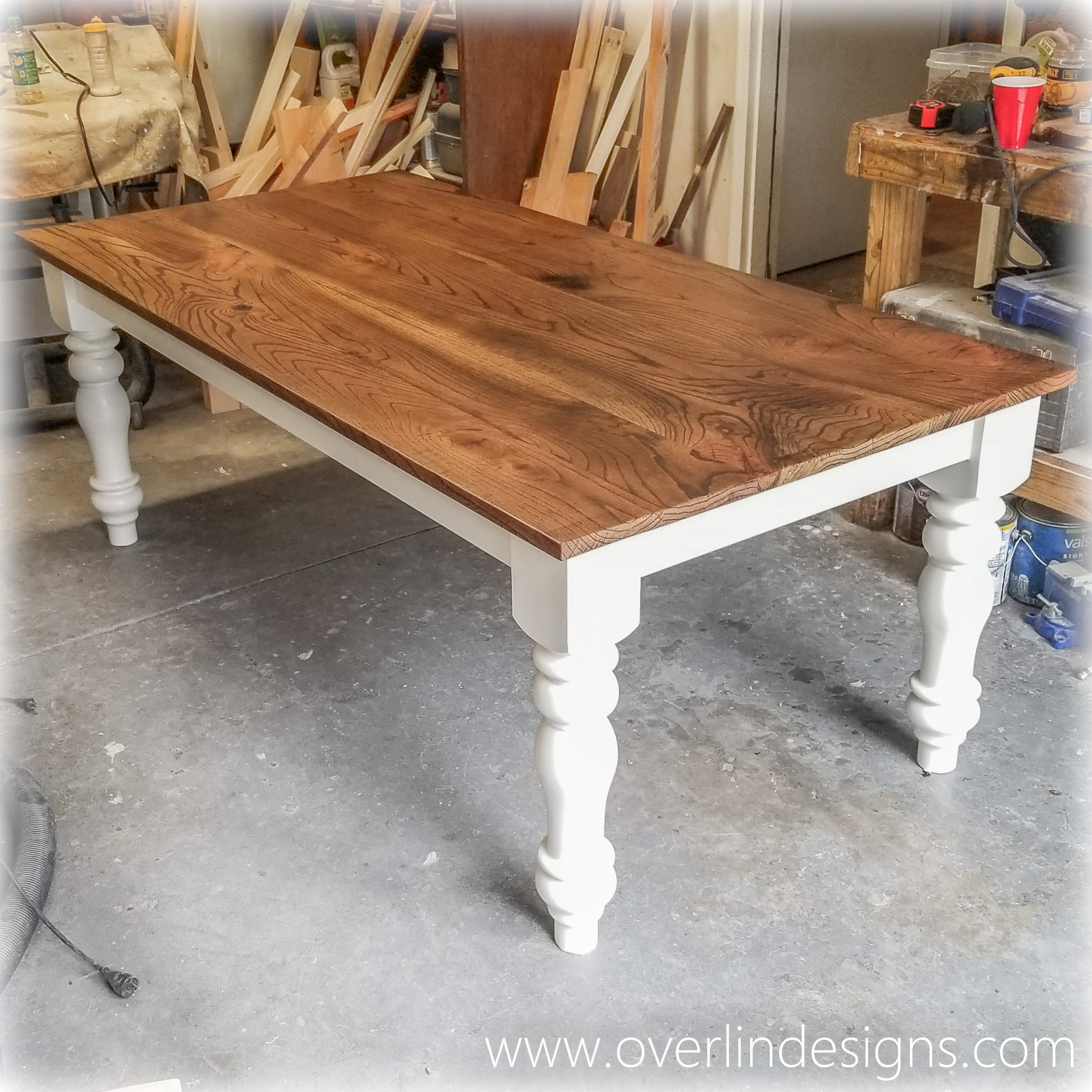 Merveilleux ... Country Farm Table   Red Oak   Alabaster And Brown ...