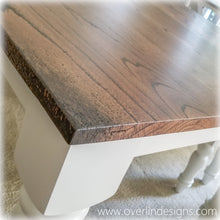Close up of the red oak tabletop on overlin designs country farm table