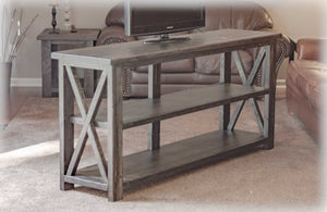 BUILD-YOUR-OWN DIY FARMHOUSE X-STYLE CONSOLE TABLE | EBONY | HANDMADE BY OVERLIN DESIGNS | CHARLOTTE, NC