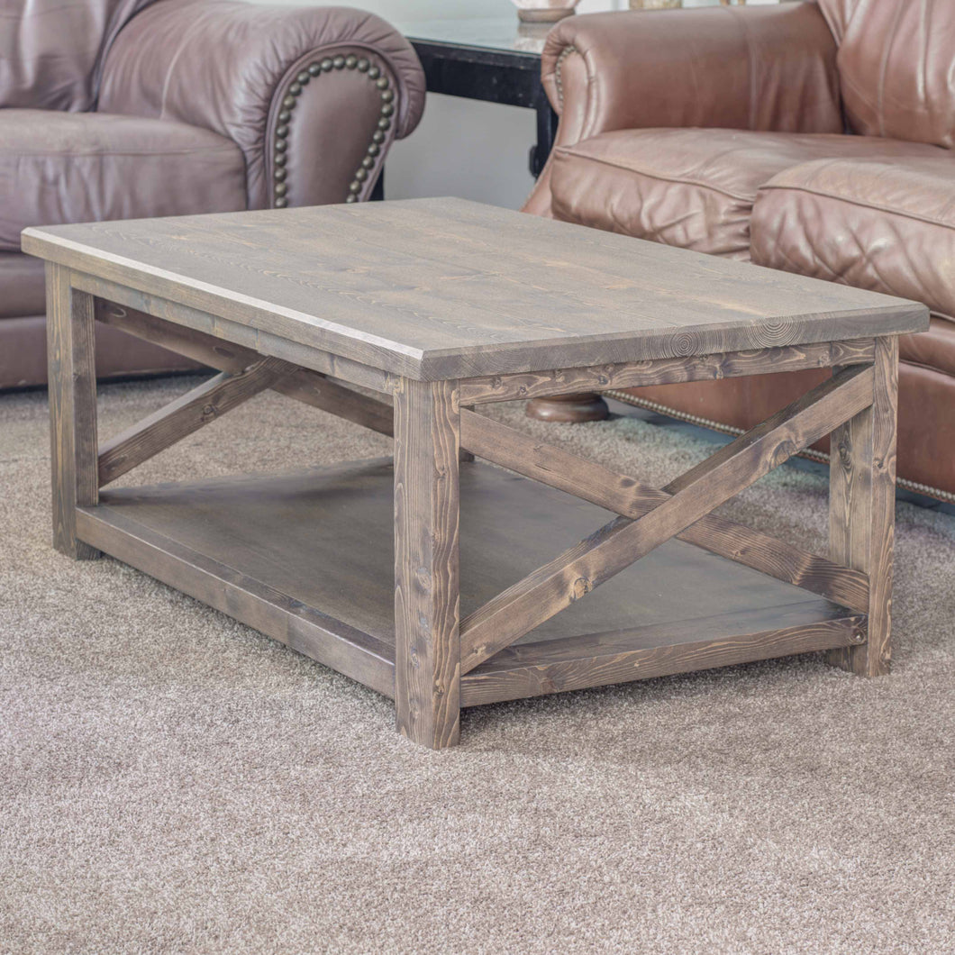Espresso Modern Farmhouse X Coffee Table | Handmade by Overlin Designs | Charlotte, NC