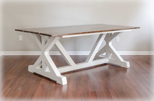 White and Brown Walnut Dining Table