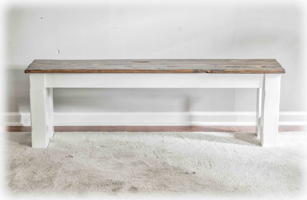 Awesome Farm Table Bench - Live-Edge Top - Solid Reclaimed Wood - Handmade by Overlin Designs