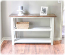brown and white farmhouse console table