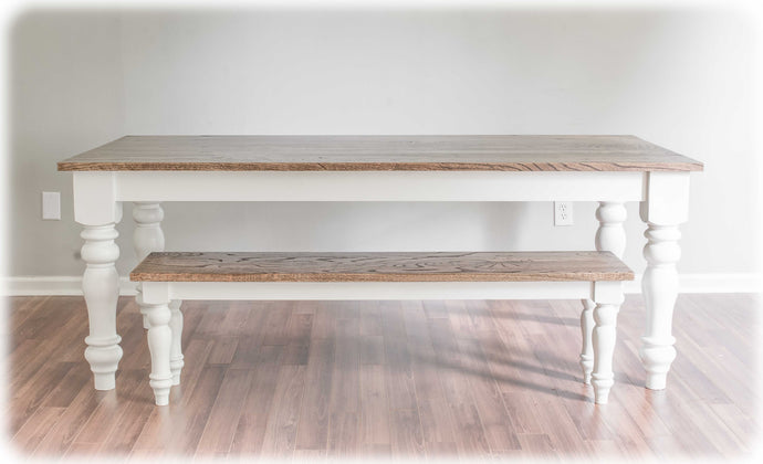 Red Oak Country Farm Dining Table and Farm Bench