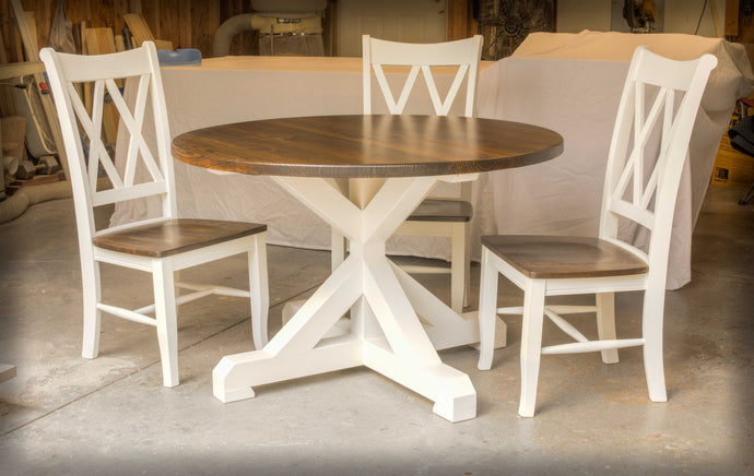 Espresso and White Round Farmhouse Table with Chairs