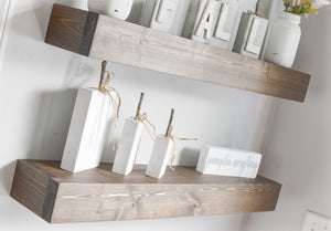 rustic jacobean floating shelves