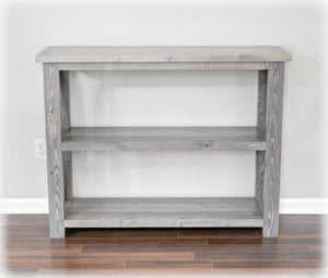 weathered gray farmhouse console table