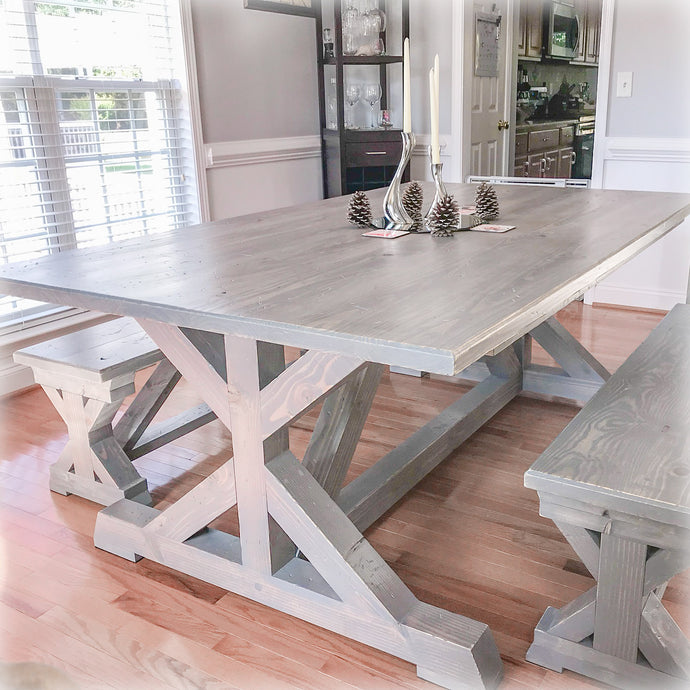 Weathered Gray Trestle Farm Dining Table and matching rustic trestle benches  - Handmade by Overlin Designs in Charlotte, NC