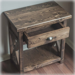 Espresso Farmhouse X-Style Nightstand with drawer- Overlin Designs - Charlotte, NC