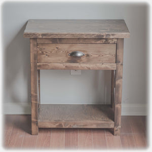 espresso brown color - farmhouse style nightstand with pull-out drawer - handmade, handcrafted, overlin designs - charlotte , nc