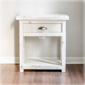 White-Distressed Farmhouse X-Style Nightstand with drawer- Overlin Designs - Charlotte, NC