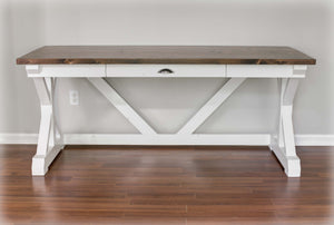 White and Espresso Trestle Desk