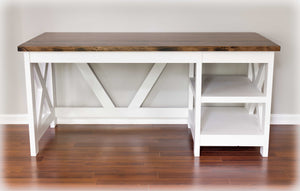 white and espresso desk with cubby shelves