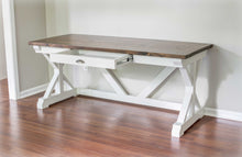 White and Espresso Trestle Desk by Overlin Designs