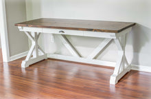 White and Brown Trestle Desk with Drawer by Overlin Designs