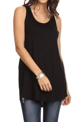 Loose Fitting Racerback Tank in Black