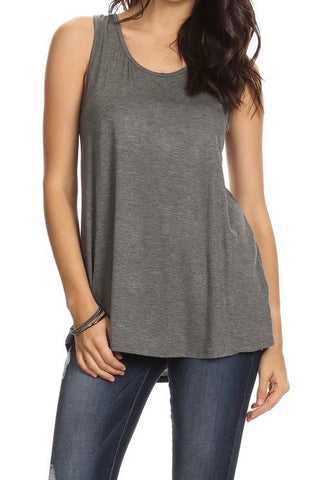 Loose Fitting Racerback Tank in Charcoal
