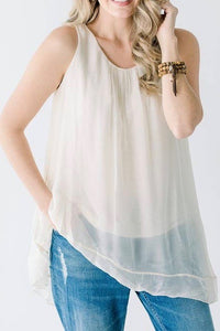 Cobblestone Living Sleeveless Silk Asymmetric Top