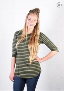 3/4 Sleeve Striped Raglan Top Olive w/White Stripes