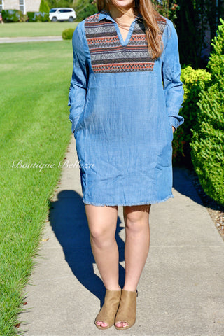 Raw Hem Denim Tunic/Dress with Front Design & Pockets