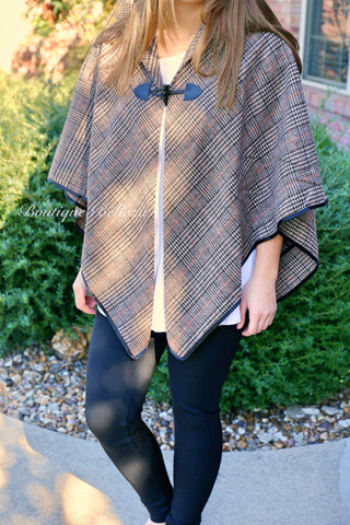 BB Brown Plaid Cape with Black Trim